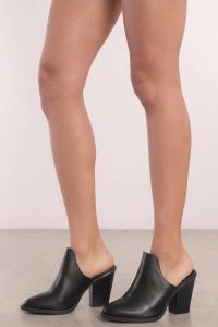 tobi.com - black faux leather cut out close toed heeled mules