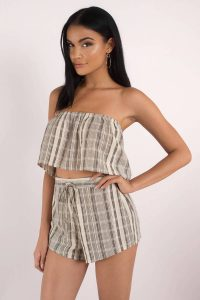 tobi.com - strapless tiered striped crop top