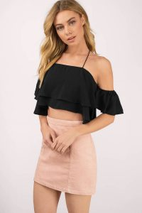 tobi.com - cold shoulder black ruffled crop top with ruffled layers