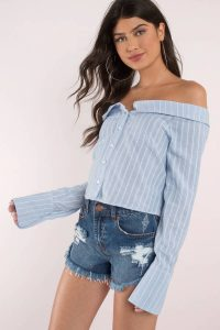 tobi.com - off shoulder striped button up crop top shirt