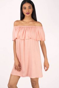 tobi.com - off shoulder ruffled top blush shift dress