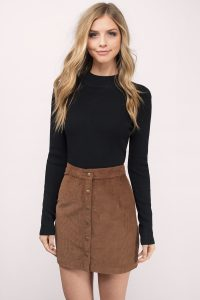 tobi.com - high waist a line button front corduroy skirt in camel