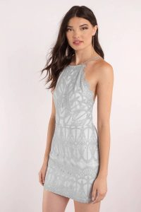 tobi.com - high neck sleeveless grey lace bodycon dress