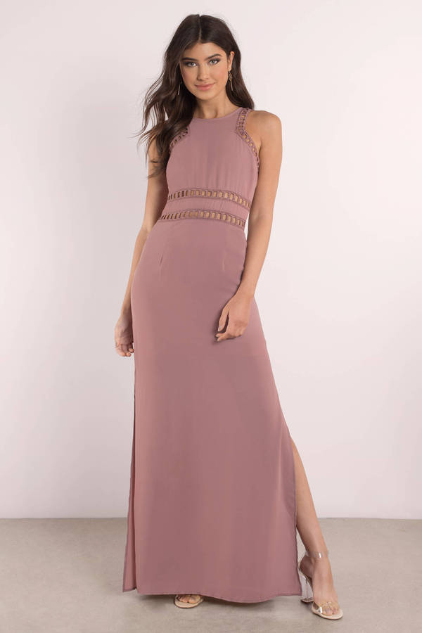 tobi.com margot contrast maxi dress with ladder trim and slits