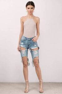 tobi.com - high waist medium wash destroyed denim bermuda shorts