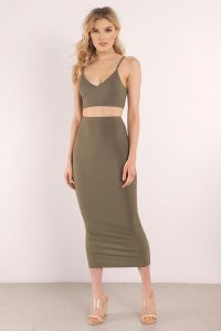 tobi.com - jersey crop cami and fitted midi skirt set in olive