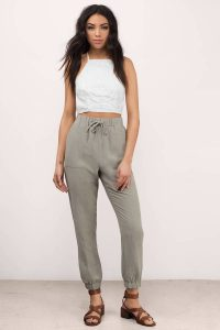 tobi.com - high waist joggers in olive