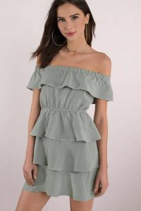Shop the ROYALTY OLIVE RUFFLE SKATER DRESS at tobi.com!