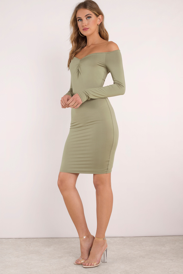 Tobi.com - Griselda Off Shoulder Bodycon Dress. Featuring on off shoulder neckline and front ruching details. Pair with stilettos and statement jewelry.