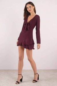 Shop the Peyton Wine Front Tie Blouse Ruffle Dress at tobi.com!