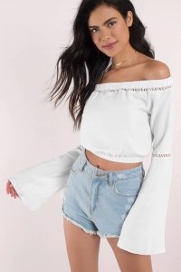 tobi.com - off shoulder white bell sleeve crop top with ladder trim