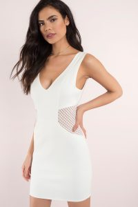 jaclyn mesh bodycon dress v neck sleeveless cutout minidress