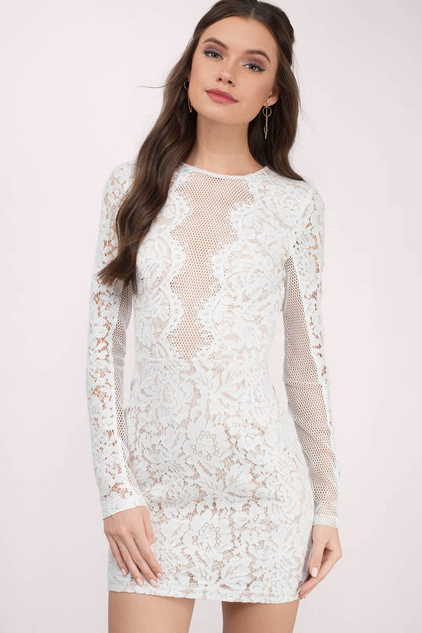 tobi.com - white lace long sleeve high neck bodycon dress