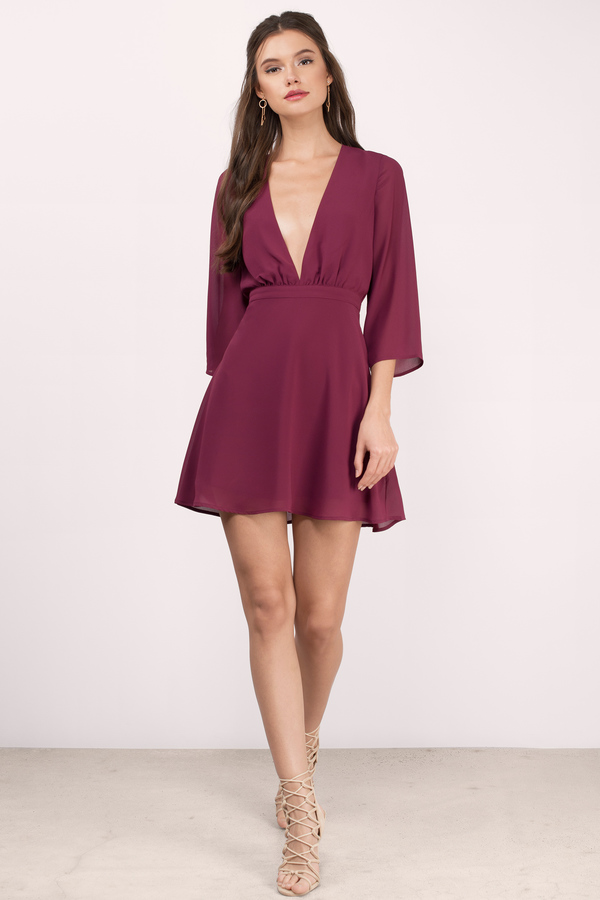 Sweet talk in the Take It Slow Skater Dress. There are endless reasons to love this cute deep v dress featuring a flattering fit at the waist, sheer fabric, and flared quarter sleeves. Finished with a hidden zipper back closure. It's our fave long sleeve dress that we want to wear for weddings, elegant evenings, and ya know... everything else.