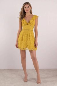 Shop the CALLIE YELLOW RUFFLE LACE SKATER DRESS at tobi.com!