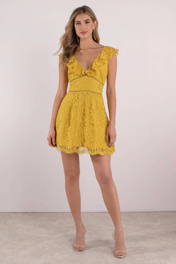 tobi-yellow-callie-ruffle-lace-skater-dress