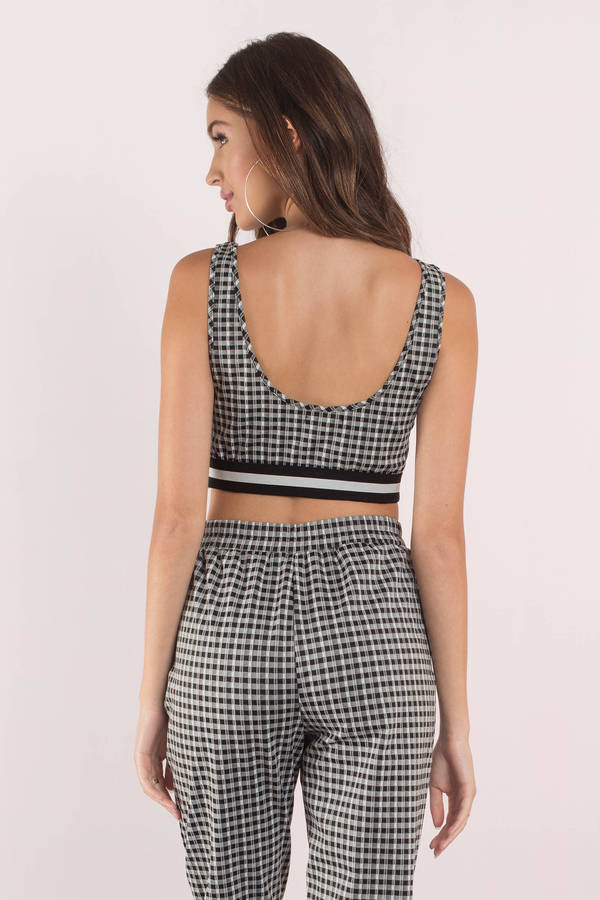 black-multi-easy-breezy-gingham-print-crop-top