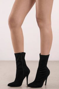 Tobi.com - Black Bonnie Suede Pointed Toe Heeled Booties