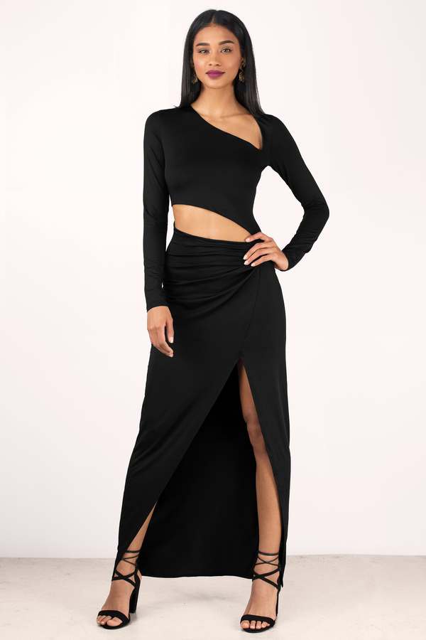 Tobi.com - Black Kris Cut Out Maxi Dress