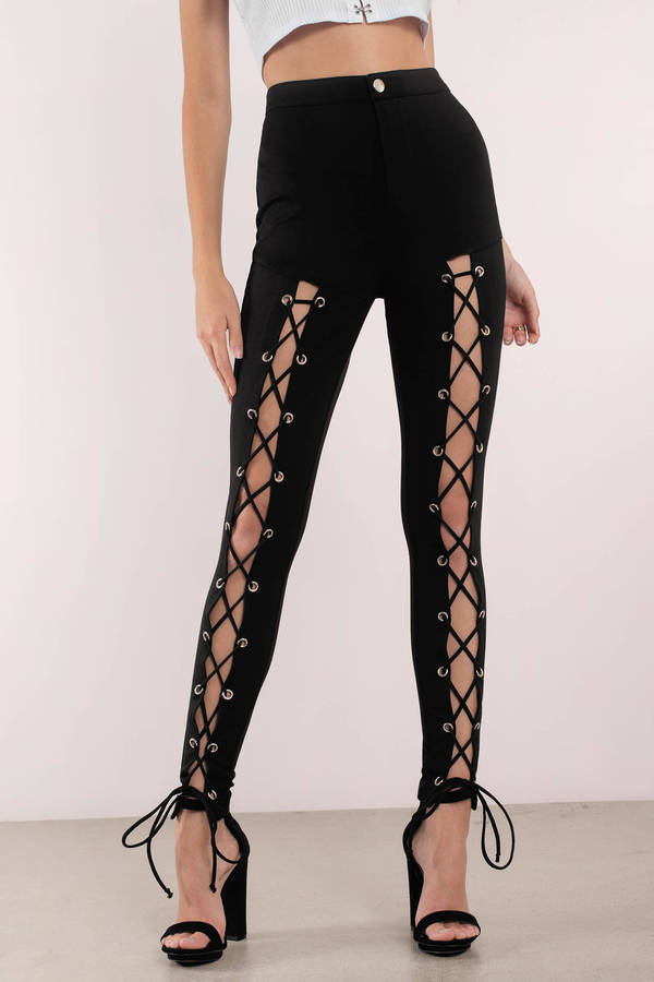 Tobi.com - Black Lace Up To No Good High Waisted Leggings