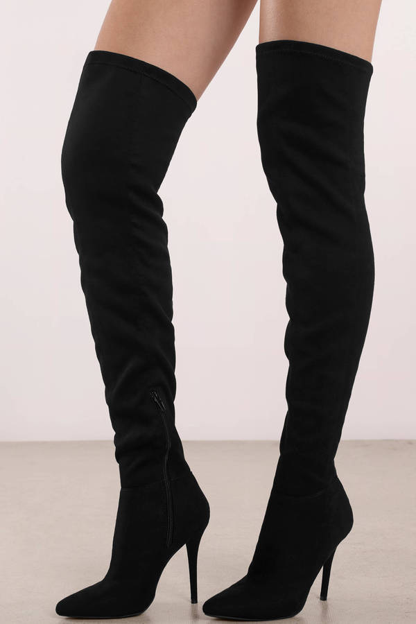 Tobi.com - Made for Walking Black Faux Suede Thigh High Boots