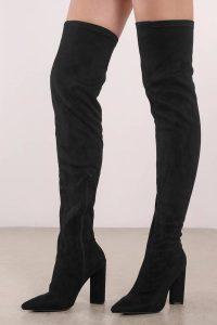 Tobi.com - Missy Faux Suede Black Thigh High Boots