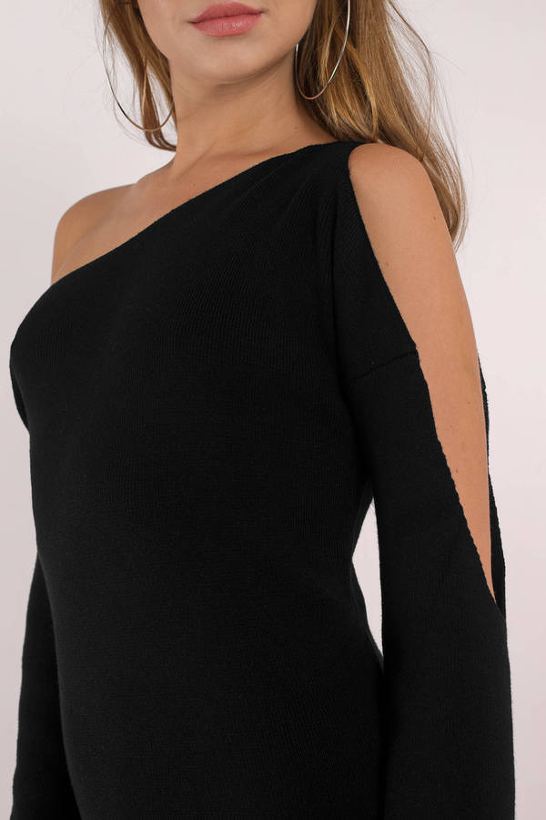black-olivia-cold-shoulder-sweater-dress