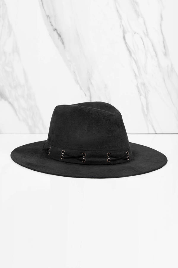 black-say-something-faux-suede-panama-hat