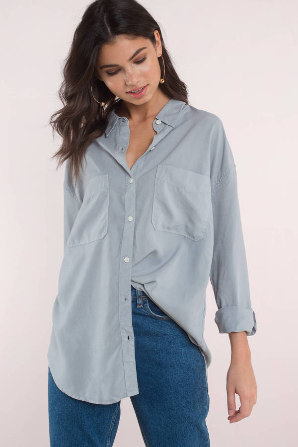 Tobi.com - Blue Dana Button Down Shirt