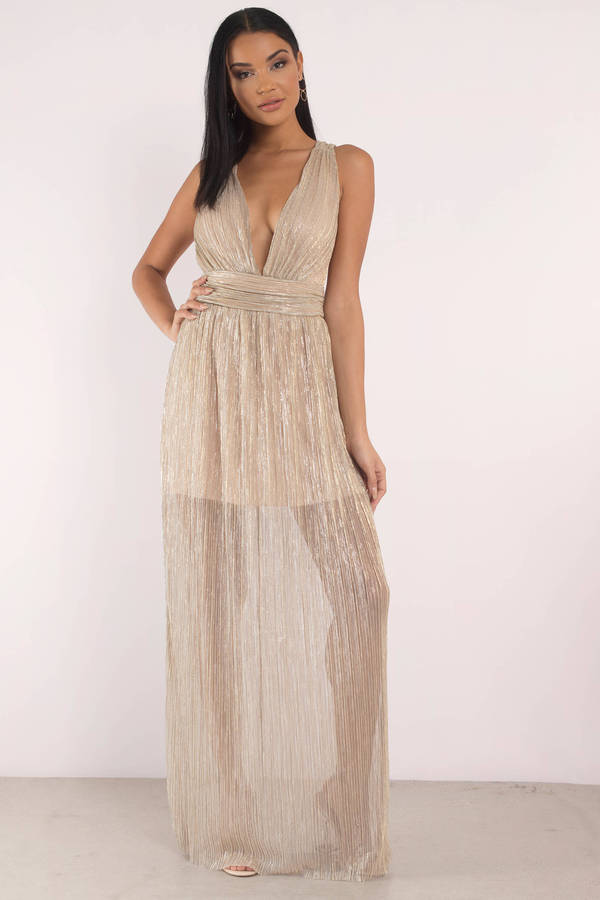 Tobi.com - Out to Town Gold Plunging Maxi Dress