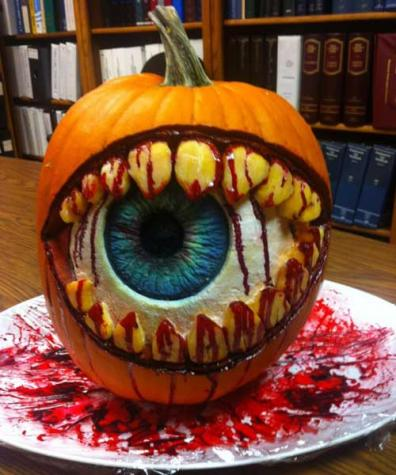 eyeball with teeth pumpking carving