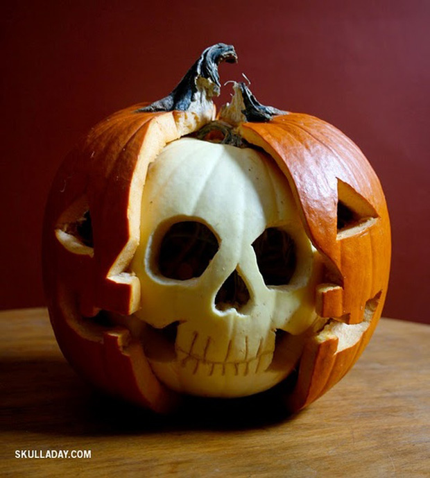 exposed skull pumpkin