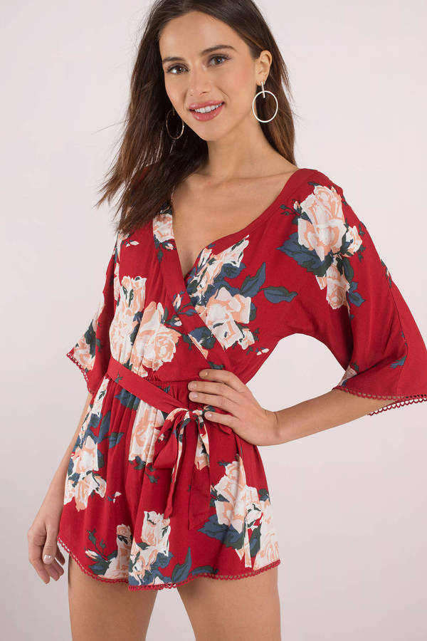 red-multi-petal-to-the-metal-print-romper