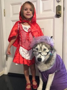 red riding hood and grandmother costume with dog