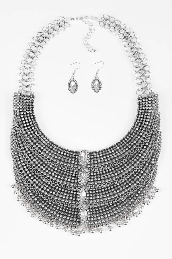 Tobi.com - Page Silver Statement Necklace Set