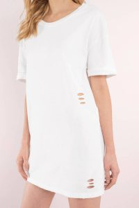Tobi.com - White Bay Area Distressed T-Shirt Dress