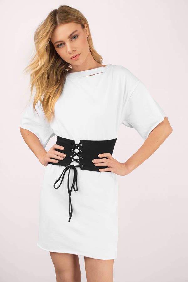 Tobi.com - Keep Me White & Black Waistbelt T-Shirt Dress