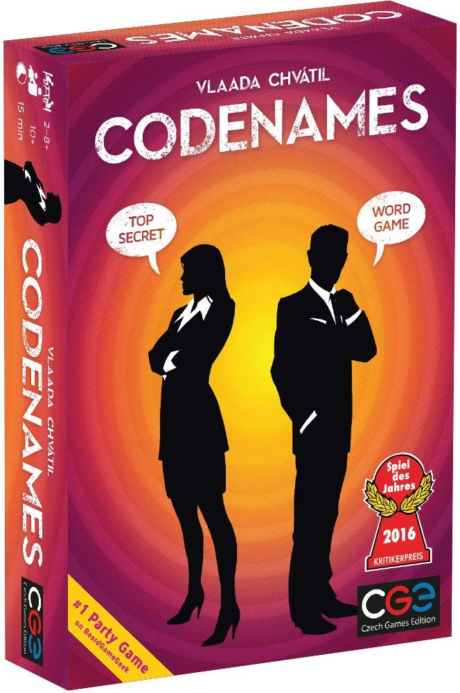 codenames game box with two silhouettes of people with speech bubbles