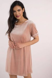 tobi.com blush viola velvet swing dress