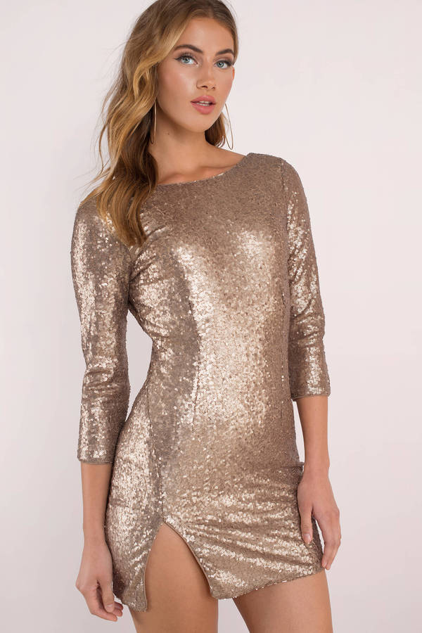 Get the Lucille Sequin Bodycon Dress before it's gone. Featuring a low back and side slit. Pair with heels.