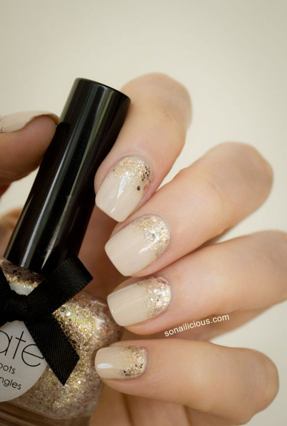 nude nails gold glitter