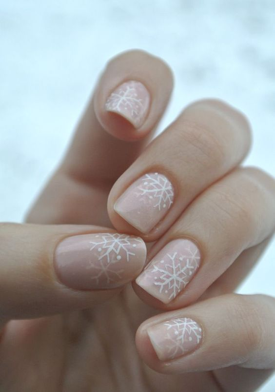 snowflake nude nails