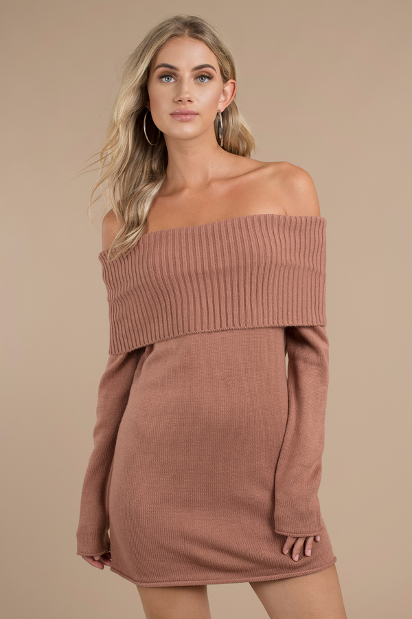 terracotta-right-now-off-shoulder-sweater-dress