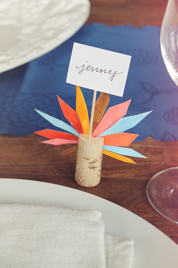 turkey feather place cards