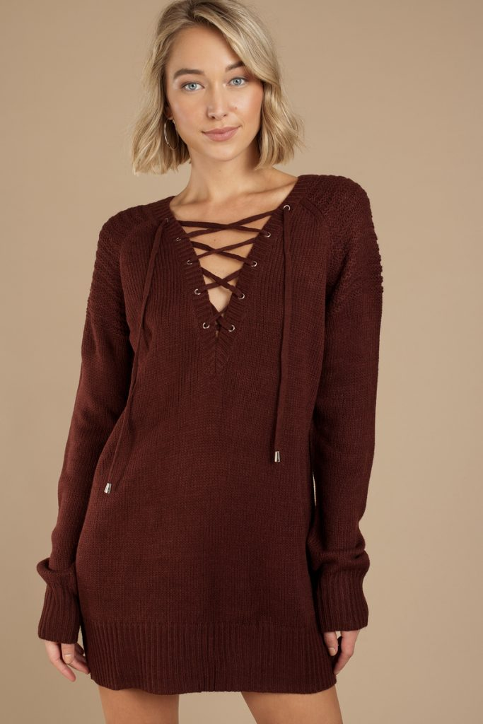 wine-never-forget-you-lace-up-sweater-dress