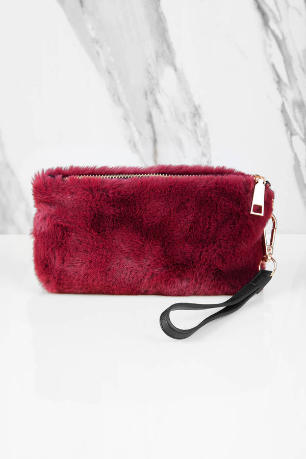 burgundy-furry-days-wristlet-pouch