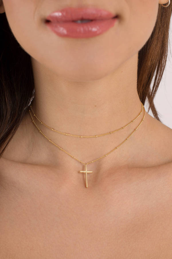 tobi.com - venetian gold cross choker necklace