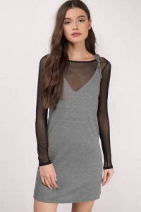 tobi.com - yana grey ribbed shift dress