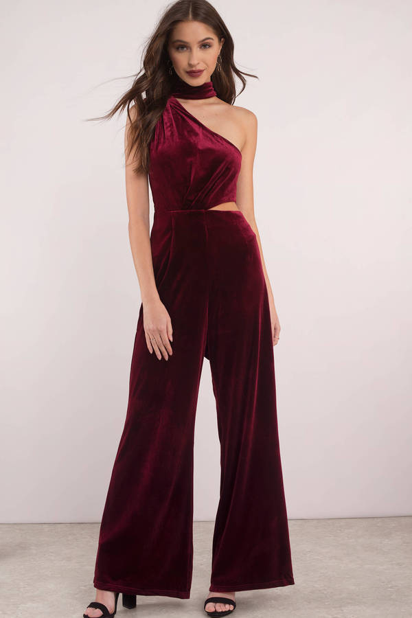 tobi.com - lioness the bold and beautiful wine one shoulder jumpsuit