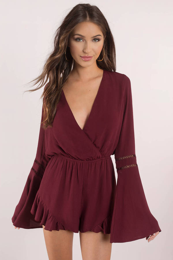 tobi.com - when the going gets ruffle wine romper